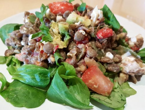 Lentil and spinach salad