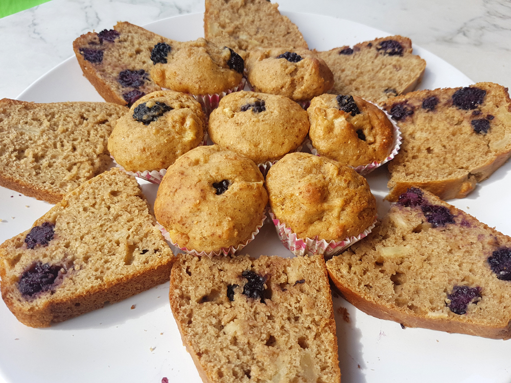 Apple blackberry muffins and cake on plate