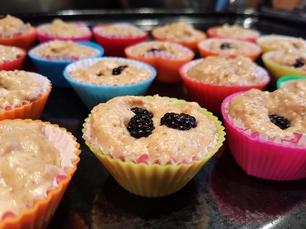 Apple blackberry muffins raw
